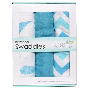 Bamboo Muslin Swaddles, 3 Pack, Softest Muslin Swaddle Blankets, Aqua, Swaddle Blanket by Cozy Babe...