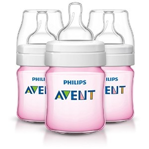 Philips AVENT Classic Plus BPA Free Polypropylene Bottles, Pink, 4 Ounce (Pack of 3) by Philips...