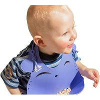 Ultra Soft Silicone Bib with Smart Food Catcher ??Waterproof and Easily Wipes Clean ??Comfy 3-Way...