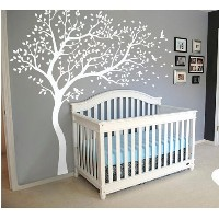 Wall Art Decoration Wall Mural Vinyl Wall Decal Tree and Flying Birds Cherry Blossom Tree Wall...