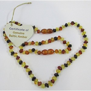 Baltic Amber Baby Teething Child Bracelet and Necklace Set Polished Rounded Beads Baroque Multicolou...