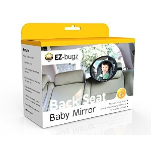 EZ-Bugz adjustable safety mirror for rear facing car seats, wide angle view of your baby in the...