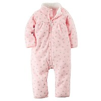 Carters Baby Girls Zip-Up Glitter Print Jumpsuit Pink Hearts 12M by Carter's