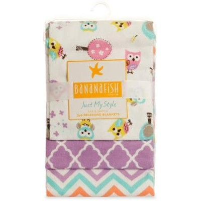 Bananafish Studio Sweet Owl Girl Receiving Soft Nursery Bed Cotton Blanket Made with Soft Fabric,...