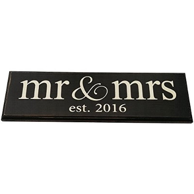 Mr & Mrs Est. 2016 Vintage Wood Sign for Wedding Decoration, Prop, Gift or Wall Decor -- PERFECT...
