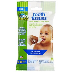 Baby Buddy Tooth Tissues Stage 1 for Baby/Toddler, Bubble Gum Flavor Kids Love, White, 60 Count by...