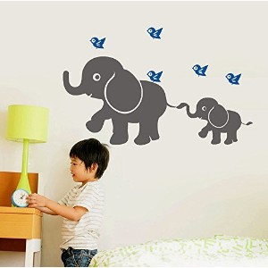 Cute Elephant and Flying Birds Wall Decal Removable Vinyl Wall Sticker Baby Nursery Wall Decor,...