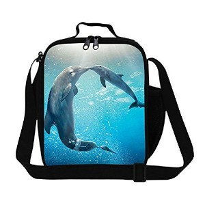 CrazyTravel Dolphin Cooler Thermal Lunch Bag Tote Box Container With Water Holder Pocket by...