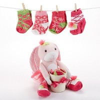 Baby Aspen, Hannah Hop-in-Socks Plush Baby Bunny & Socks Gift Set, 0-6 Months by Baby Aspen [並行輸入品]