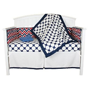 Red White and Blue Chevron and Dots 5 Piece Crib Bedding Set with Bumper by Bacati