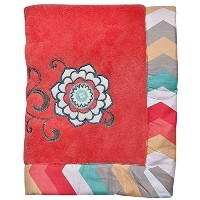 Trend Lab Waverly Pom Pom Play Embroidered Fleece Baby Blanket, Coral by Trend Lab [並行輸入品]