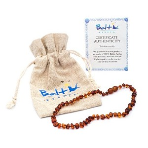 Baltic Amber Teething Necklace For Babies (Unisex) (Cognac) - Anti Flammatory, Drooling & Teething Pain Reduce Properties - Natural Certificated Oval Baltic Jewelry with the Highest Quality Guaranteed. Easy to Fastens with a Twist-in Screw Clasp Mothers A