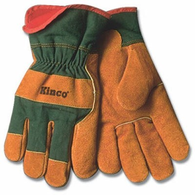 KINCO 1721GR-M Men's Lined Leather Palm Gloves, Suede Cowhide, Green Fabric Back, Medium, Russet by...