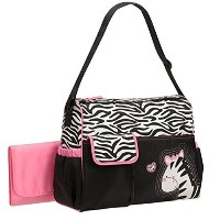 Baby Boom Zebra Diaper Bag with Pink Changing Pad by Baby Boom