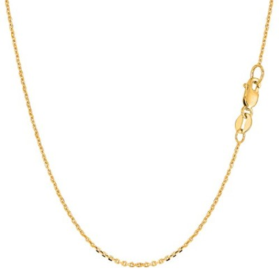 10k Yellow Gold Cable Link Chain Necklace, 1.1mm, 18""