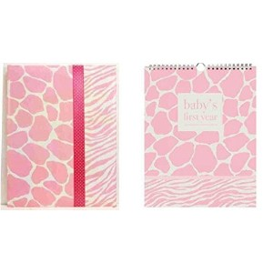 Pepperpot Giraffe Baby Girl or Baby Boy Record Book Journal and Baby's 1st Year Calendar Set (Pink)...