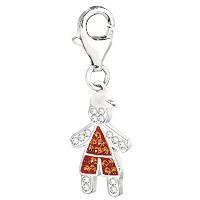 Sterling Silver And Crystal November Birthstone Clip On Boy Charm