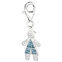 Sterling Silver And Crystal March Birthstone Clip On Boy Charm
