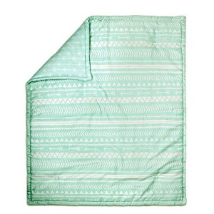 Mint Green Tribal Print Reversible 100% Cotton Crib Quilt by The Peanut Shell by The Peanut Shell