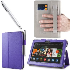 i-BLASON Kindle Fire HDX 7 inch Tablet Leather Case Cover / Stylus (Automatically Wakes and Puts...