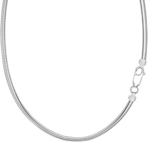 Sterling Silver Rhodium Plated Round Omega Chain Necklace, 4mm, 16""