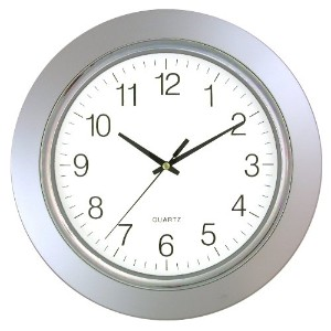 13IN CHROME ROUND CLOCK