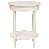 Oriental Furniture 26 Classic Oval Lamp Table - White by ORIENTAL FURNITURE