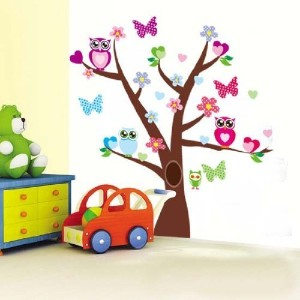 1 X Tree Butterfly Tree Owl Wall Decor Removable Sticker / Decal Set by Qudi