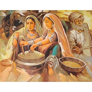 Banjaras: A Nomadic Tribe of Rajasthan - Oil on Canvas - Artist: Anup Gomay