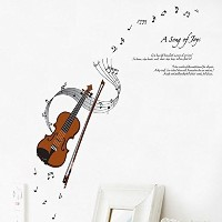 ORDERIN Wall Decal Mural Violin Musical Notation Removable Wall Stickers for Children Bedroom...