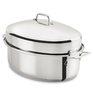 All-Clad E7879664 Stainless Steel Dishwasher Safe Oven Safe Covered Oval Roaster Cookware, 16-Inch,...