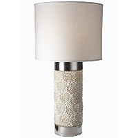 Gilded Barn Clamrose Column Lamp with White Fabric Shade [並行輸入品]