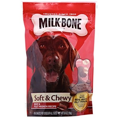 Milk-Bone Soft & Chewy Treats Real Beef & Filet Mignon Recipe Dog Snacks 5.6oz