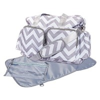 Trend Lab Chevron Deluxe Duffle Diaper Bag, Gray/White by Trend Lab