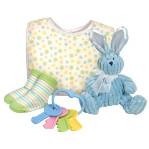 Stephan Baby Plush Wabbit, Bib and Bootie Socks Gift Set, Blue and Multi Dot by Stephan Baby