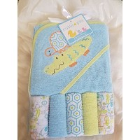 Crocodile Hooded Towel and Colorful Washcloth Set, 6 Piece, Blue by Cutie Pie Baby