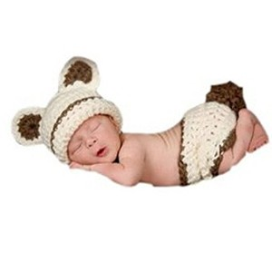 Pep-Baby? Handmade Knitted Crochet Hat Costume Hat Bear Hat and Pant Set Beige by Eyourhappy