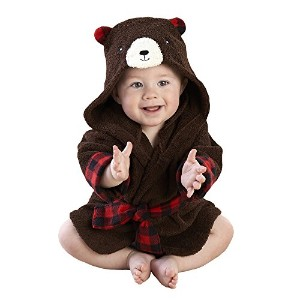 Baby Aspen Beary Bundled Hooded Robe, Brown and Red by Baby Aspen