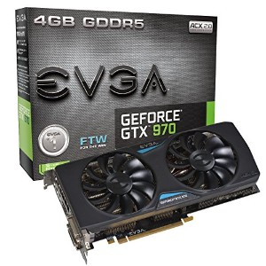 EVGA GeForce GTX 970 FTW ACX 2.0 4GB GDDR5 256bit, DVI-I, DVI-D, HDMI, DP SLI Ready Graphics Card...