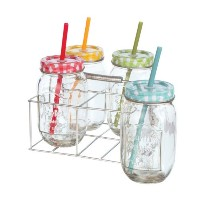 CarsonホームアクセントDrink Glasses with Lid and Straw ( Set of 4 )、マルチカラー