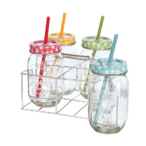 CarsonホームアクセントDrink Glasses with Lid and Straw ( Set of 4)、マルチカラー