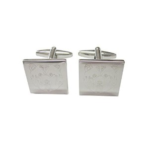 Silver Toned Etched Bear Head Cufflinks