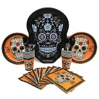 Day of the Dead ( Dia De Los Muertos )ハロウィンパーティー供給バンドルwithプレート、カップ、ナプキン、フォークand Serving Platter (...