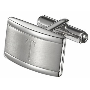 Visol Taurus PersonalizedステンレススチールCufflinks with Engraved Letter T