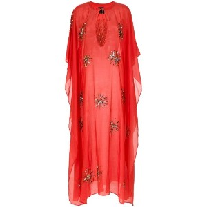 Andrea Bogosian - beaded embroidery kaftan - women - コットン/シルク - P
