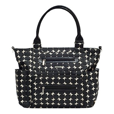 JJ Cole Caprice Diaper Bag, Black with Cream Pattern by JJ Cole