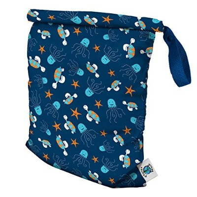 Planet Wise Roll Down Wet Diaper Bag, Navy Sea Friends, Medium by Planet Wise