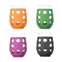 Lifefactory 17-Ounce Large Wine Glasses, Multi-Colored 4-Pack ガラス コップ カップ 480ml 4個セット