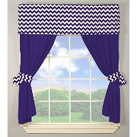 Baby Doll Bedding Chevron Window Valance and Curtain Set, Plum by BabyDoll Bedding
