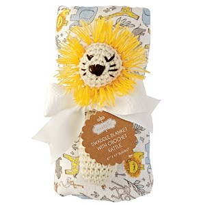 Mud Pie Swaddle Blanket and Crochet Rattle, Lion by Mud Pie